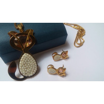 Regalo Gato Kitty Perlas Swarovski Element Collar Arete Oro