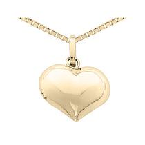 Collar Del Corazón De 14k De Oro Amarillo Con La Cadena