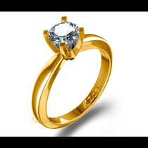 Anillo De Compromiso Con Diamante Natural .55ct En Oro 10k