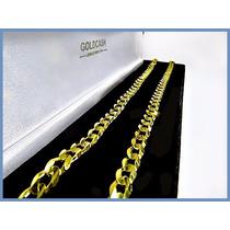 Cadena Oro Amarillo Solido 10k Mod. Bullet De 6mm 28grs Acc