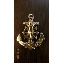 Medalla En Forma De Ancla Con Cristo En Plata Sterling .925