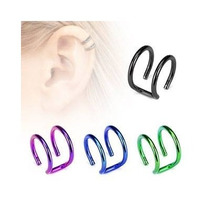 Ear Cuff Falso De Acero Inox Purpura Diseño Conciencia Doble