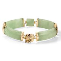 Verde Jade 14k Oro Macarrones-enlace Pulsera