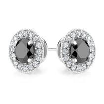 Diamante Negro Y Blanco Topaz Pendientes De Halo 1.5 Carat (
