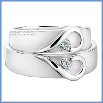 Argollas De Matrimonio Mod. Isabelle Oro Blanco 18k Solido
