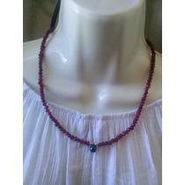 Collar De Rubies Naturales Facetados Con Centro De Esmeralda