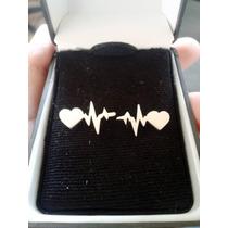 Aretes Electrocardiograma Con Corazón De Plata .925
