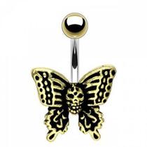 Piercing Para El Ombligo Diseño Mariposa De La Muerte
