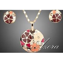 Chapa De Oro 18k Collar Y Aretes Modelo Flores
