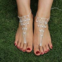 Sweetm 2pc Rhinestone Sandalias Descalzas Bridemaids De Boda