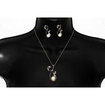 Conjunto Elegante Plata Dije Perla ,cristales Y Aretes Ce161