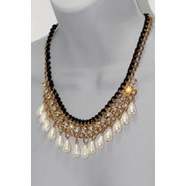 Collar Moda Dorado Perlas Gota, Pedrería Cristales