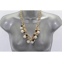 Collar Moda Perlas Y Cuentas Negras Eslabones Dorado Cc170