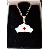 Collar Dije Cofia Enfermera Medicina Plata .925 Envio Gratis