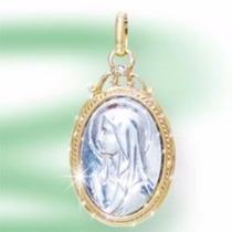 Dije Madona Virgen Maria Laminado En Oro Y Rodio 14k