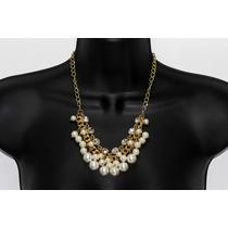 Collar Moda Cadena Dorada Perlas Y Cristales