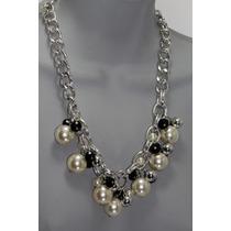 Collar Moda Plata, Perlas, Cuentas Negras Y Aretes