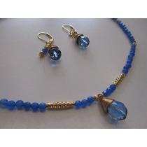 Collar Corto Azul Agata Con Chapa De Oro Y Cristales