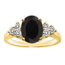1.83 Ct Oval Negro Onyx White Diamond 18k Anillo Oro Amarill
