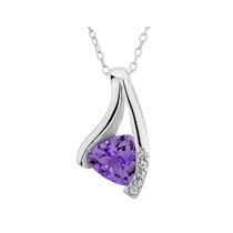 Amatista Colgante Collar 1/2 Carat (ctw) Con Diamantes En Pl