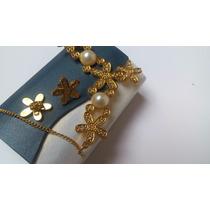 Hermoso Collar Perlas Swarovski Element + Aretes Baño Oro