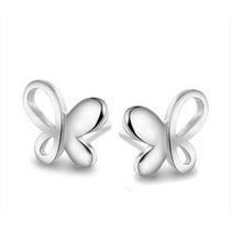 En Forma De Mariposa Platinado Pendiente Elegante