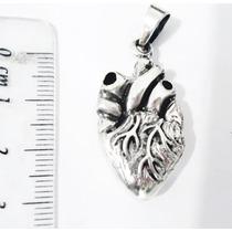 Dije Corazón Anatómico 3d Medico Plata.925 El Relicario