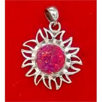 Dije De Sol En Plata Con Opalo Rosa Y Calendario Azteca