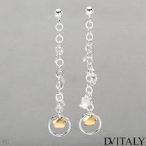 Aretes Dv Italy De Plata Con Chapa De Oro De 14k