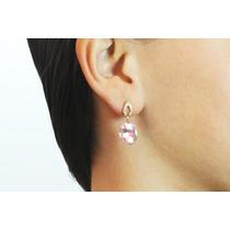 Arete Moda Dorados Cristales Y Piedra Rosa Biselada Ar253