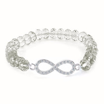 Pulsera Infinito Dama Con Zirconias Cristal Blanco Ajustable