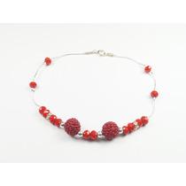 Pulsera Cadena De Plata Con Cristales Rojos Y Bolitas Multip