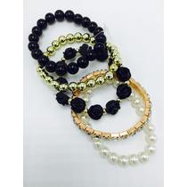 Juego De Pulseras Perlas Blancas Negras Y Doradas Moda