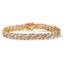 De Los Hombres Diamante Acento Pulsera 18k Oro-chapado