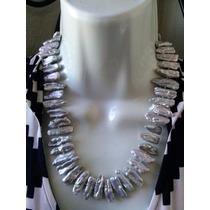 Collar De Perlas Cultivadas En Color Plata De 48 Cm De Largo