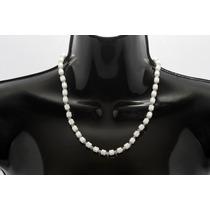 Collar De Piedra Corto Magnetita Blanca Y Cristal Ccpn132