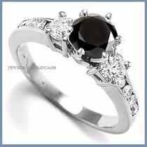 Anillo Compromiso Diamante Natural Negro Plata Oro -50% 002