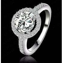 Anillo Chapa De Platino Zirconia Compromiso Regalo Diamantes