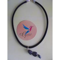Joyería Collar Con Dije De Ágata Azul Gris Y Acerina