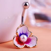 Piercing Para Ombligo Flor Y Perla Laminado Con Oro 18q