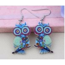 Aretes Buho Acrilico Color Azul Multicolor Moda Para Dama