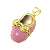 Pendiente Bling Jewelry Zapatilla Bebé Rosa Enchapado Oro P