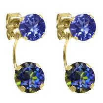 Blue Mystic Topaz Amarillo Pendientes De Oro