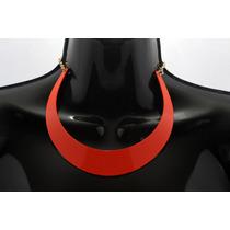 Collar Moda Media Luna Naranja Y Cadena Dorada