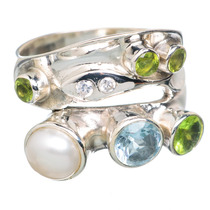Cultured Pearl, Perla Cultivada 925 Plata Ring 8.5