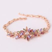 Pulsera Flor Chapa De Oro Rosa Con Cristales Tipo Swarovsk