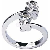 Anillo Compromiso Doble-tous Diamante Plata Envío Gratis!!!
