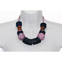 Collar Moda Morado Aros Multicolor Y Tejido En Forma Esfera
