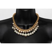 Collar Moda Perlas, Cadena Gruesa Y Cristales