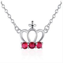 C Corona Collar Colgante Con Cristales (rojo)